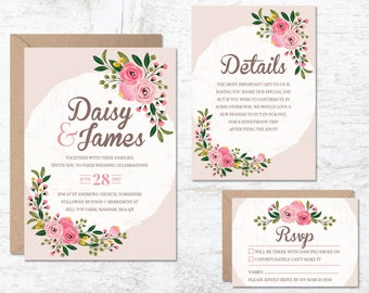 Wedding Invitation Template, Wedding Invitation Floral, Printable Invitation, Rustic Invitation, Wedding Invitation Set, Boho Wedding