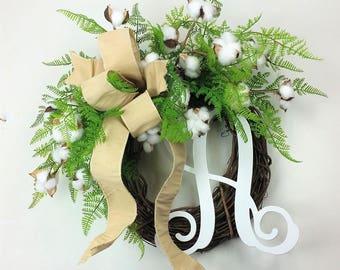 Farmhouse Cotton wreath, Fixer Upper wreath, Cotton wreath, Cotton decor, Monogram wreath, 2nd Anniversary gift, Farmhouse decor