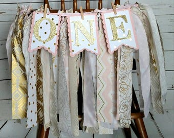 Pink, Gold, 1st Birthday, High Chair Banner, 1st Birthday Banner, One Banner, Display Banner, Photo Prop Banner, Streamers, Birthday Party