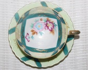 Vintage Castle Japan Porcelain Teacup and Saucer 2 Tone Green Center Pink Florals Very Nice
