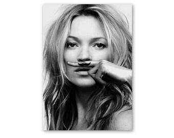 Kate Moss moustache art print, Kate Moss moustache poster, Kate Moss print, Kate Moss wall art, fashion wall art, fashion print, fashion art