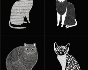Catnip- Cat Panel (1 Yard Panel)- Black- Gingiber- Moda Fabrics