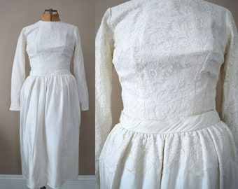 1950s Wedding Dress | Tea Length Short Wedding Dress | Vintage 50s Wedding Dress