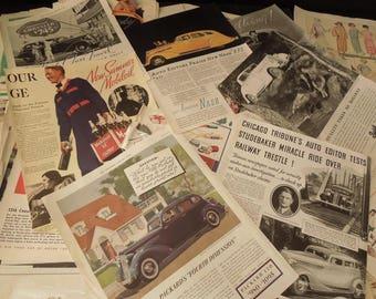 Vintage Advertising Paper Ephemera - Magazine Ad's Automotive, Food, Beauty Products, Lifestyle Advertisements - Craft Mixed Media Art