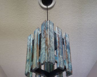 Distressed Repurposed Wood Light Pendant | Farmhouse | Rustic | Hand  Painted | Pallet Light |