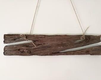 Flat & Thin Driftwood Piece // Blank Sign Drift Wood Plank Textured Driftwood Art With Rusty Nails