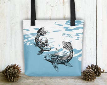 Shoulder Tote Bag, Koi Fish Tote Bag, Carry All Bag, Blue White Bag, Tote Bag For Woman, Bags And Purses, Fish Print Bag, Beach Bag