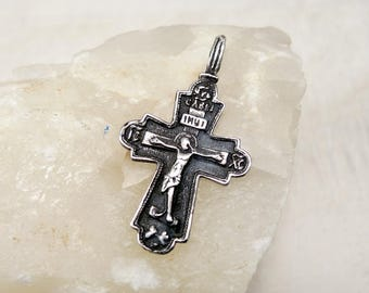 Vintage Sterling Silver Cross Jesus Christ Crucifix Orthodox Cross Save and Protect Black Silver Cross