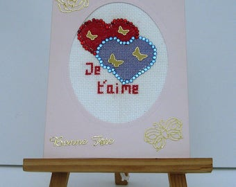 Double hand embroidered Valentine card