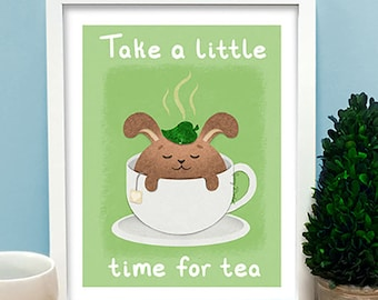 Tea Bunny Print, tea art, kitchen art, tea quote, cute print, tea lover