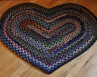 Hand Braided Wool Heart Rug