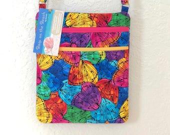 Crossbody Bag,  2 Zippers, 2 Pockets, Colorful Butterflies
