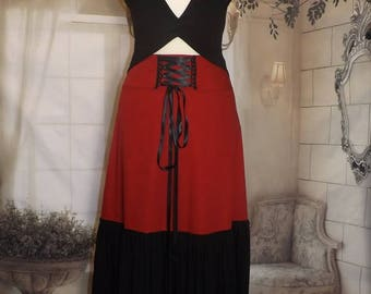 """Skirt long Burgundy """"Melusine"""" ruffle black elven Sanlivine back lacing"""