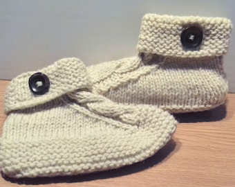 100% Organic Wool Slippers /Natural non-dyed Wool/Organic socks/ warm Socks/Hand knit/  EU Size 37 - 38