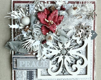 Beautiful Handmade Shabby Chic Christmas Greeting Card #WC2017-12
