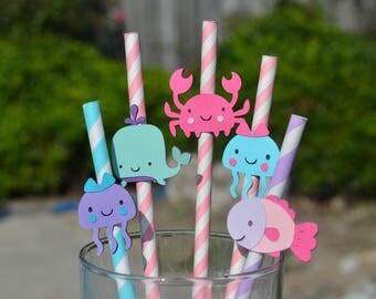 Straws, Under the Sea straws, fish straw, crab straw