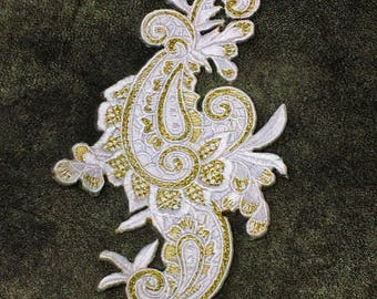 White and Gold Floral Iron On Applique