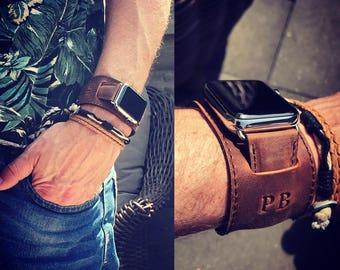 Personalized Leather Apple Watch Cuff Apple Watch Strap Boyfriend Gift Husband Gift Wide Apple Watch Leather Band 42mm apple watch band 38mm