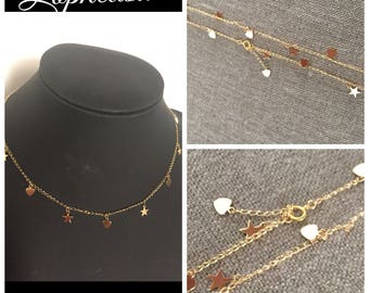 Gold plated necklace stars hearts