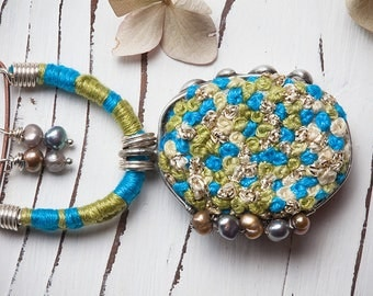 Hand embroidered french knots stitch necklace, pearl tin soldered Tiffany technique jewelry, green blue bohemian style pendant, boho jewelry