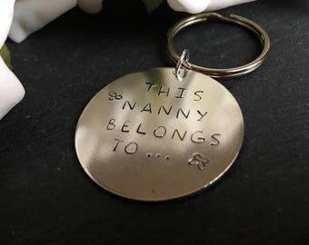 Grandma keyring, Personliased keychain, Nana keyring, Grandad keychain, Hand stamped key ring with charm, Initial key chain, stocking gift.