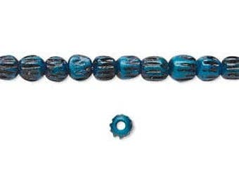 Blue Bone Bead, Corrugated Beads, Antiqued, 3 to 4mm, 40 each, D1045