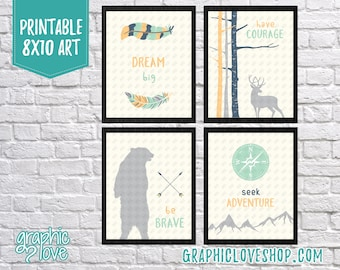 Printable Woodland/Wild One Art Set of 4, Dream Big, Have Courage, Be Brave, Seek Adventure | Mint, Navy | 8x10 JPG Files, Instant Download