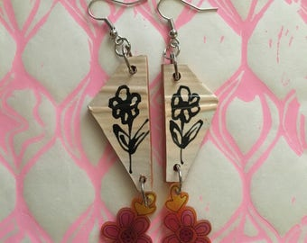 Dangle Ceramic and Plastic Charm Earrings