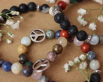 Peace Sign Mala Bead Bracelet, Natural Crystal Essential Oil Diffuser Bracelet, Crystal Bead Bracelet, Zen Bracelet, Aromatherapy Beads