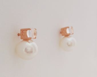 Rose Quartz and freshwater Perle earrings