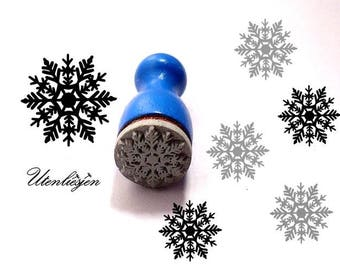 Stamp mini, snowflake no.4, winter, ice crystal, rubber stamp Ø 11 mm