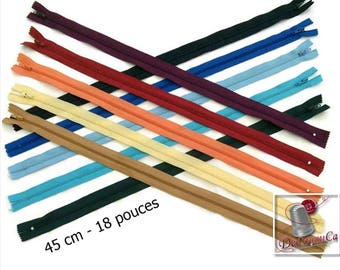 50%, (1.45 reg), 45cm, zipper, #3, 18 inchs, varied color, varied size, nylon, perfect for wallets, clothing, repair, creation,