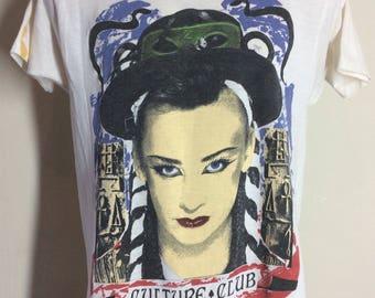 Vtg 1984 Culture Club Boy George T-Shirt White 80s Rock Pop 50/50