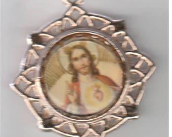 Large Vintage Gold Tone Sacred Heart of Jesus - St. Anthony Medal