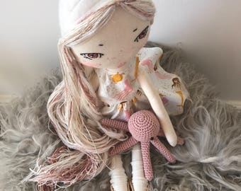 Heirloom MERMAID Cloth Doll with Squid Friend. Art Doll Set. Kids Room Interior. Gift/ RAGDOLL Set.