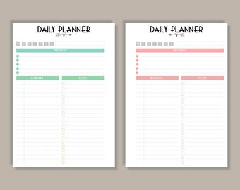 A5 Daily Planner Printable Planner Pages | Subtle Ombre Effect | 7 Colours - A5 Filofax Inserts / Instant Download PDF