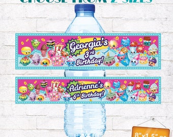 Shopkins Drink Bottle Labels Shopkins Water Bottle Wraps Shopkins Birthday Party Decorations with matching Invitation Customized Digital