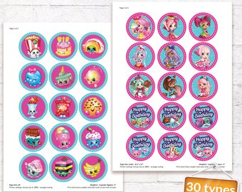Shopkins Cupcake Toppers Shopkins Favor Labels Shopkins Birthday Party Stickers with matching Invitation Customized Digital File