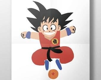 Ilustración 'Goku' para decorar tu hogar. Habitación infantil. SonGoku. Paredes bonitas. Decoración para niños. Ilustración. Dragon Ball