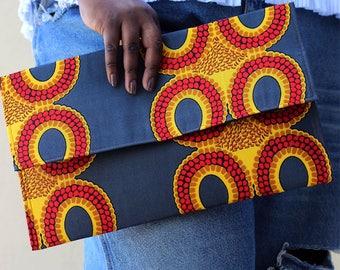 monoprint fabric clutch