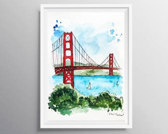Golden Gate Painting, California art, City art, Housewarming gift, Travel Illustration, Art Print, Architecture Illustrator, Holiday gift