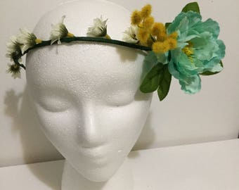 Blue and Yellow flower crown