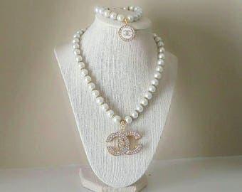 Designer Inspired Pearl Beaded Necklace Set