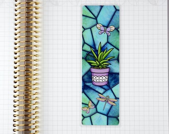 Laminated Blue Stained Glass Plant with Butterfly Bookmark