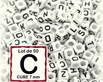 "cube alphabet ""C"" 7mm - letter beads 50 beads"