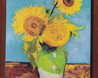 Van Gogh, Sunflowers F.453, first version: turquoise background , Private collection.FREE SHIPPING