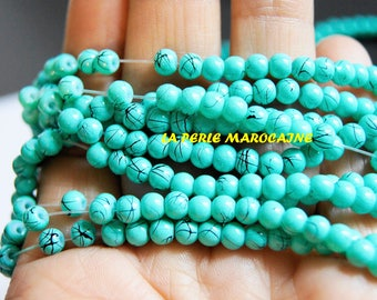 100 4 MM IMITATION TURQUOISE SYNTHETIC TURQUOISE BEADS