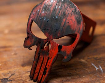 Punisher Trailer Hitch Cover - Weathered Red