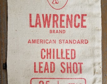 Vintage Canvas Bag, Vintage Shot Bag, Rustic Canvas Bag, Hunting Decor, Lawrence Brand 25 lbs.