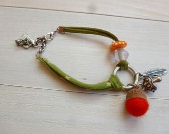 autumn magic mushroom orange bracelet
